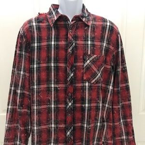 NEW wTag-HUDSON Red Distressed Soft Flannel XL